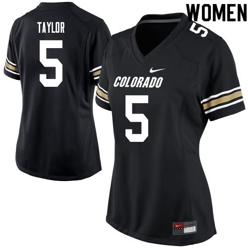 Women #5 Davion Taylor Colorado Buffaloes College Football Jerseys Sale-Black