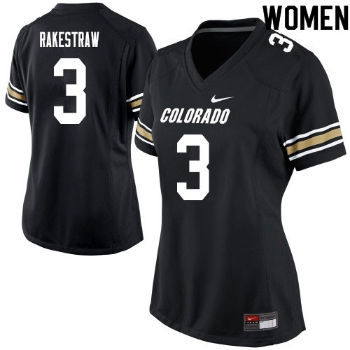 Women #3 Derrion Rakestraw Colorado Buffaloes College Football Jerseys Sale-Black