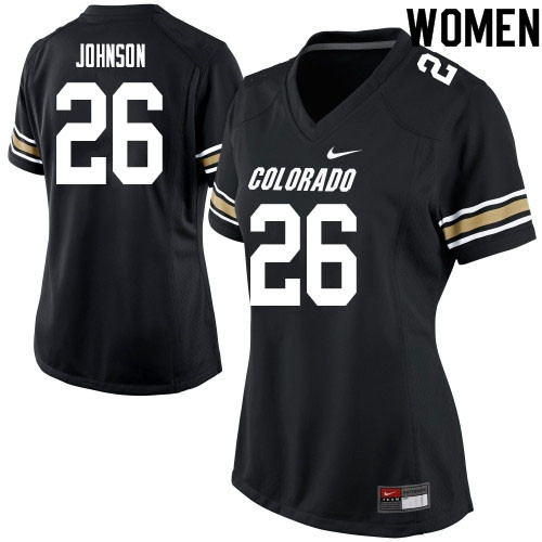 Women #26 Dustin Johnson Colorado Buffaloes College Football Jerseys Sale-Black