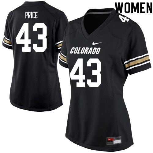 Women #43 Evan Price Colorado Buffaloes College Football Jerseys Sale-Black