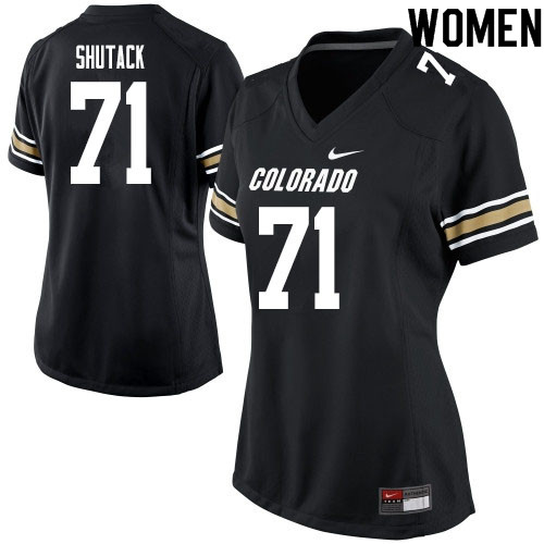 Women #71 Jack Shutack Colorado Buffaloes College Football Jerseys Sale-Black
