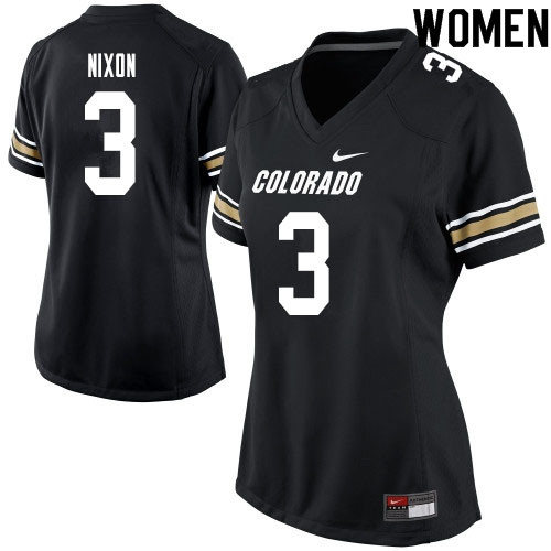Women #3 K.D. Nixon Colorado Buffaloes College Football Jerseys Sale-Black