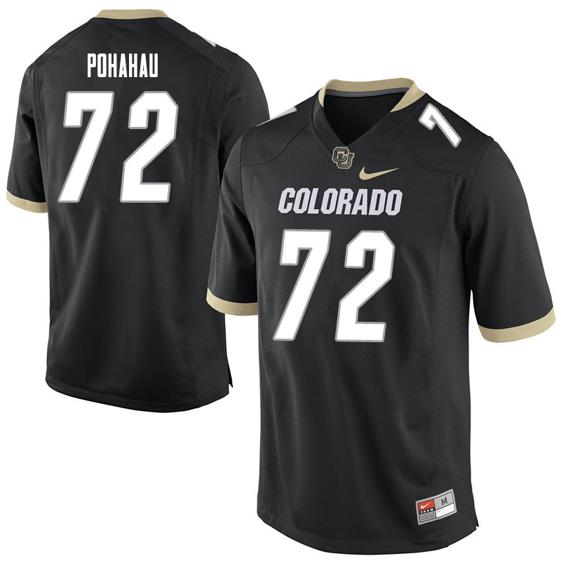 Men #72 Nikko Pohahau Colorado Buffaloes College Football Jerseys Sale-Black