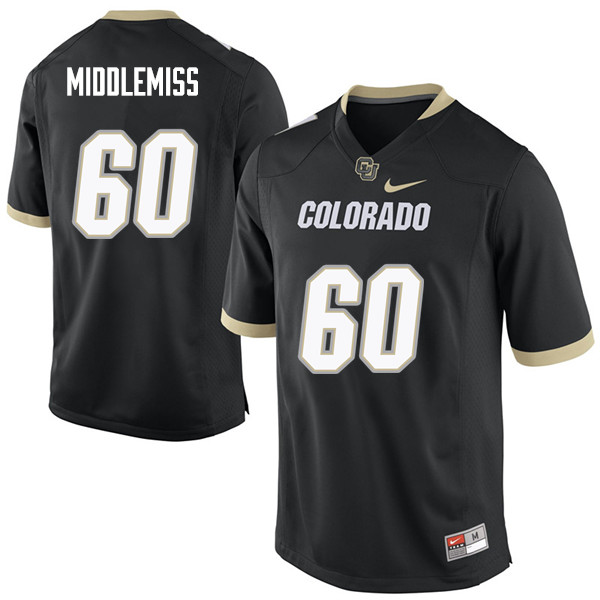 Men #60 Dillon Middlemiss Colorado Buffaloes College Football Jerseys Sale-Black
