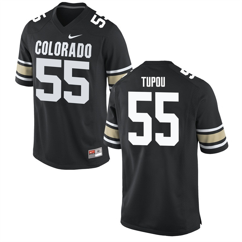 Men #55 Josh Tupou Colorado Buffaloes College Football Jerseys Sale-Home Black