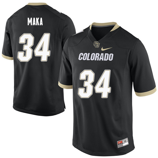 Men #34 Pookie Maka Colorado Buffaloes College Football Jerseys Sale-Black