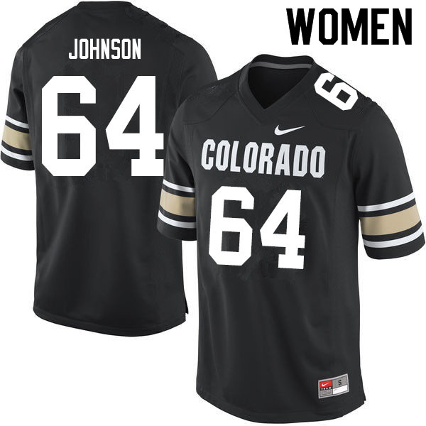 Women #64 Austin Johnson Colorado Buffaloes College Football Jerseys Sale-Home Black