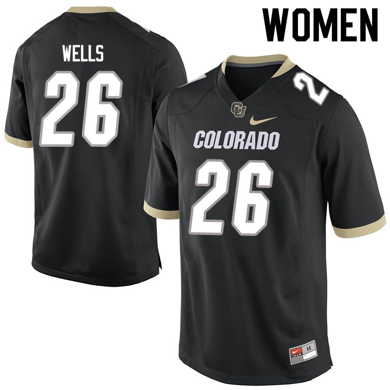 Women #26 Carson Wells Colorado Buffaloes College Football Jerseys Sale-Black
