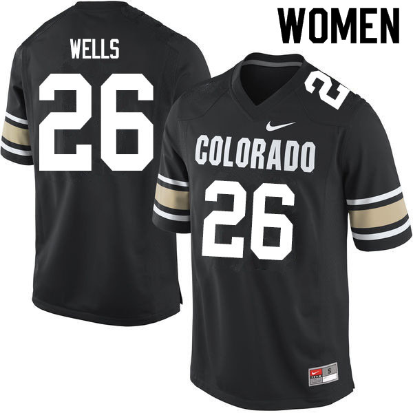 Women #26 Carson Wells Colorado Buffaloes College Football Jerseys Sale-Home Black