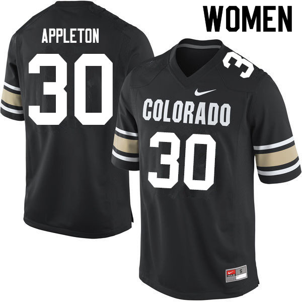 Women #30 Curtis Appleton Colorado Buffaloes College Football Jerseys Sale-Home Black
