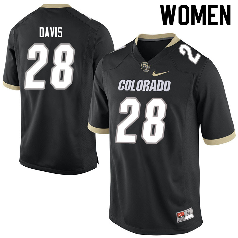 Women #28 Joe Davis Colorado Buffaloes College Football Jerseys Sale-Black