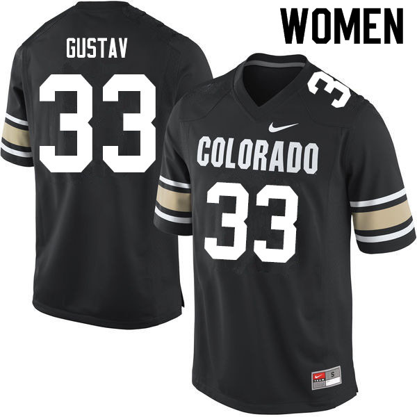 Women #33 Joshka Gustav Colorado Buffaloes College Football Jerseys Sale-Home Black
