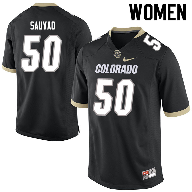 Women #50 Va'atofu Sauvao Colorado Buffaloes College Football Jerseys Sale-Black