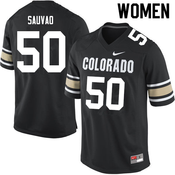Women #50 Va'atofu Sauvao Colorado Buffaloes College Football Jerseys Sale-Home Black