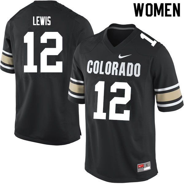 Women #12 Brendon Lewis Colorado Buffaloes College Football Jerseys Sale-Home Black