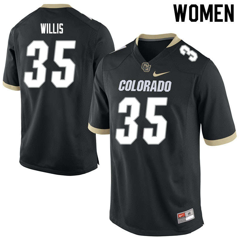 Women #35 Mac Willis Colorado Buffaloes College Football Jerseys Sale-Black