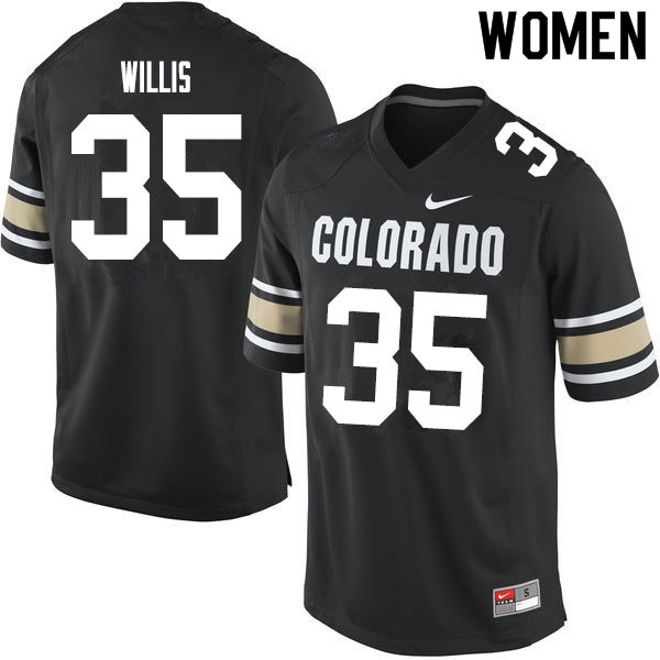 Women #35 Mac Willis Colorado Buffaloes College Football Jerseys Sale-Home Black
