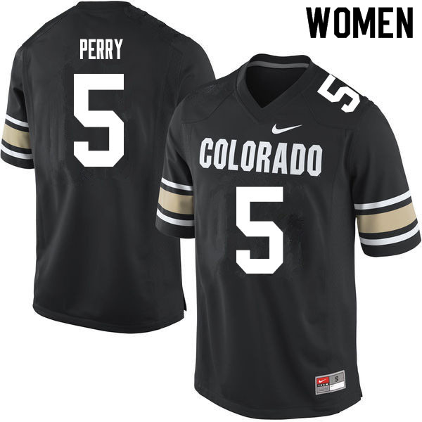 Women #5 Mark Perry Colorado Buffaloes College Football Jerseys Sale-Home Black