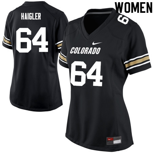 Women #64 Aaron Haigler Colorado Buffaloes College Football Jerseys Sale-Black