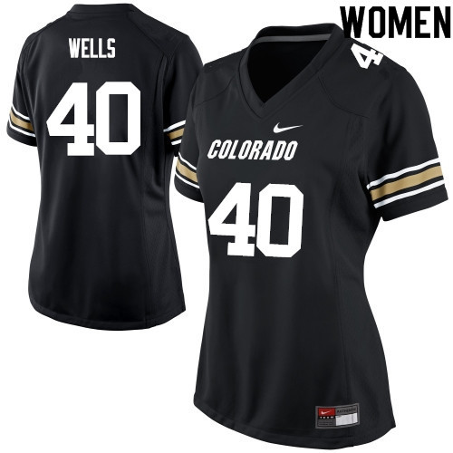 Women #40 Carson Wells Colorado Buffaloes College Football Jerseys Sale-Black