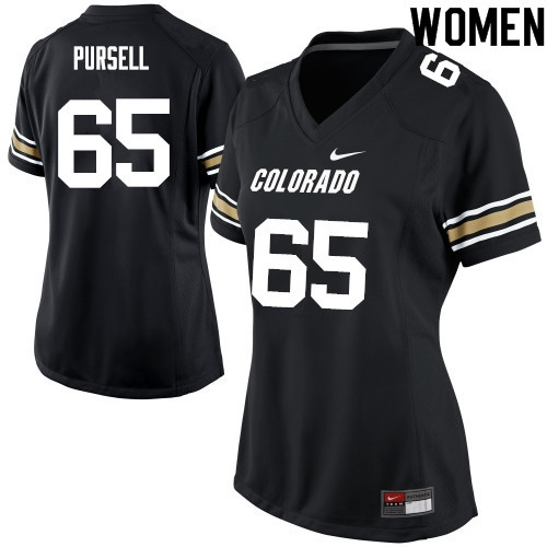 Women #65 Colby Pursell Colorado Buffaloes College Football Jerseys Sale-Black