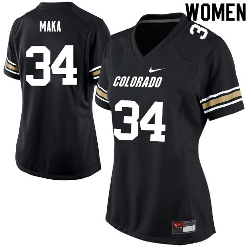 Women #34 Pookie Maka Colorado Buffaloes College Football Jerseys Sale-Black