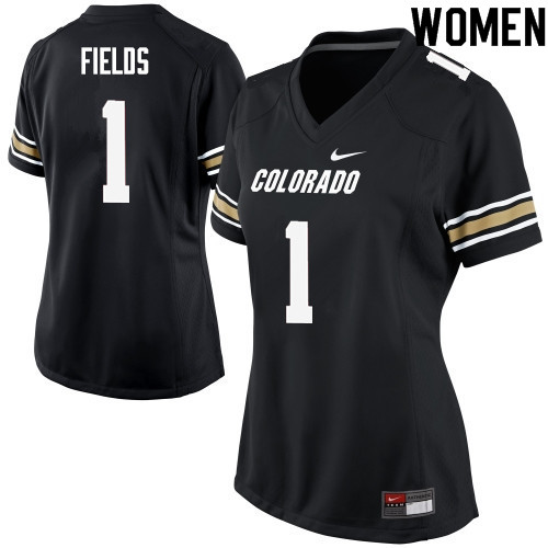 Women #1 Shay Fields Colorado Buffaloes College Football Jerseys Sale-Black