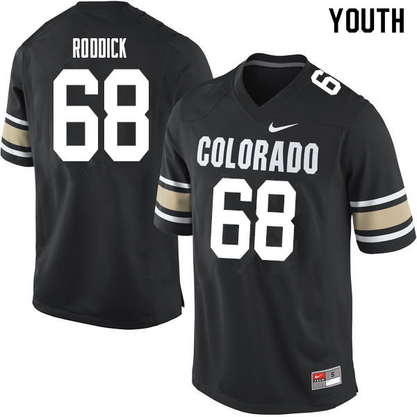 Youth #68 Casey Roddick Colorado Buffaloes College Football Jerseys Sale-Home Black