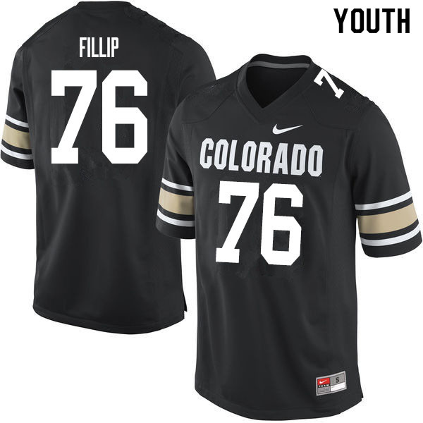 Youth #76 Frank Fillip Colorado Buffaloes College Football Jerseys Sale-Home Black