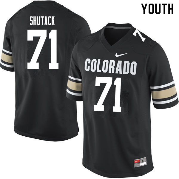 Youth #71 Jack Shutack Colorado Buffaloes College Football Jerseys Sale-Home Black