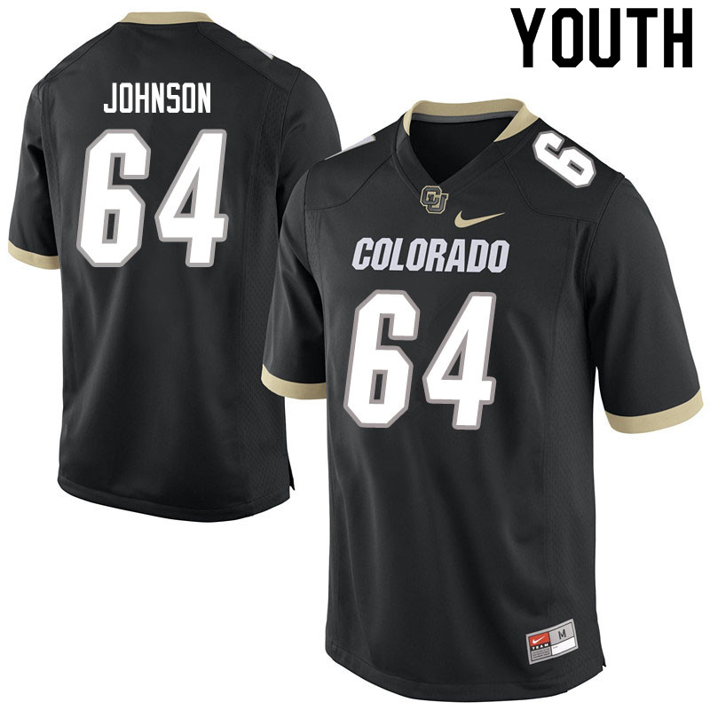 Youth #64 Austin Johnson Colorado Buffaloes College Football Jerseys Sale-Black