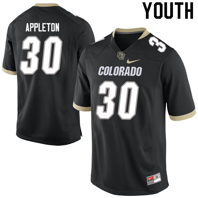Youth #30 Curtis Appleton Colorado Buffaloes College Football Jerseys Sale-Black