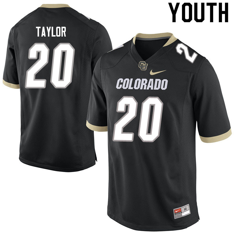 Youth #20 Davion Taylor Colorado Buffaloes College Football Jerseys Sale-Black