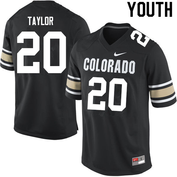 Youth #20 Davion Taylor Colorado Buffaloes College Football Jerseys Sale-Home Black