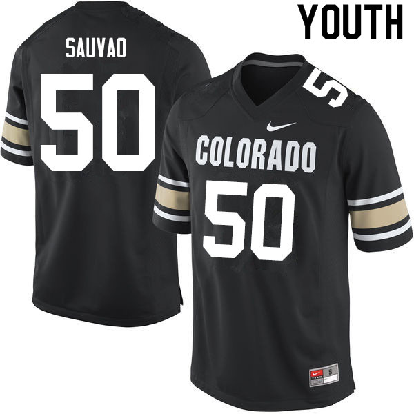 Youth #50 Va'atofu Sauvao Colorado Buffaloes College Football Jerseys Sale-Home Black