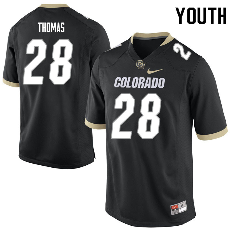 Youth #28 Dylan Thomas Colorado Buffaloes College Football Jerseys Sale-Black