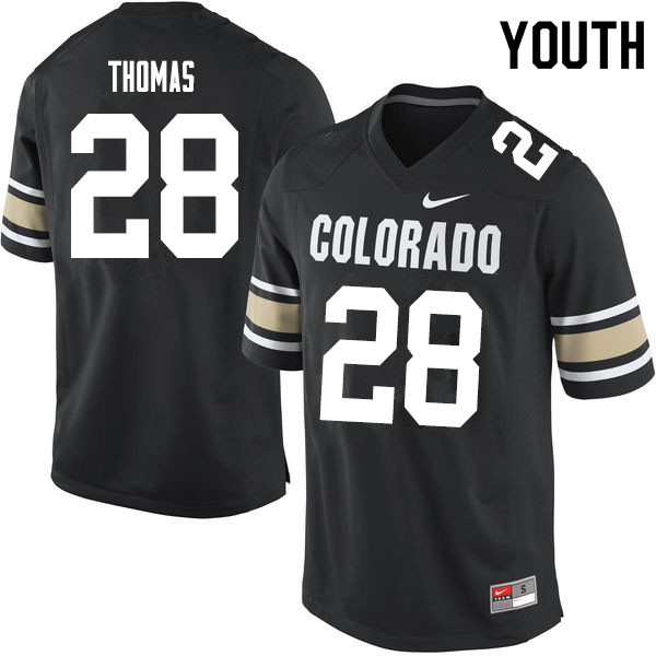 Youth #28 Dylan Thomas Colorado Buffaloes College Football Jerseys Sale-Home Black