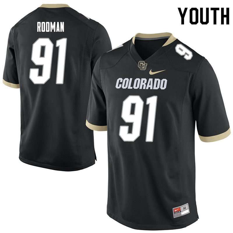 Youth #91 Na'im Rodman Colorado Buffaloes College Football Jerseys Sale-Black