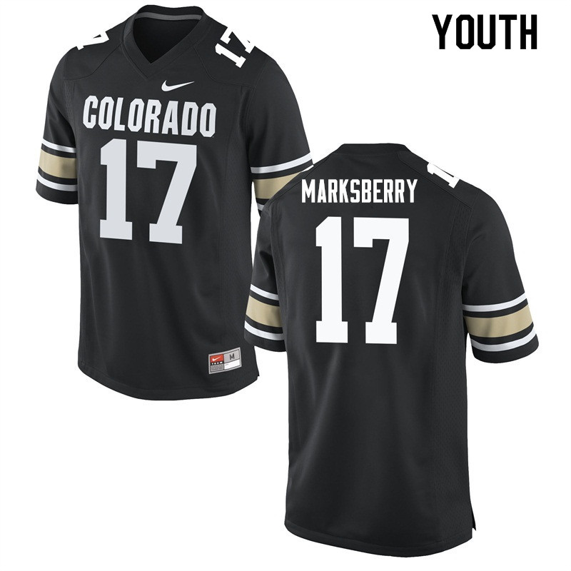 Youth #17 Casey Marksberry Colorado Buffaloes College Football Jerseys Sale-Home Black