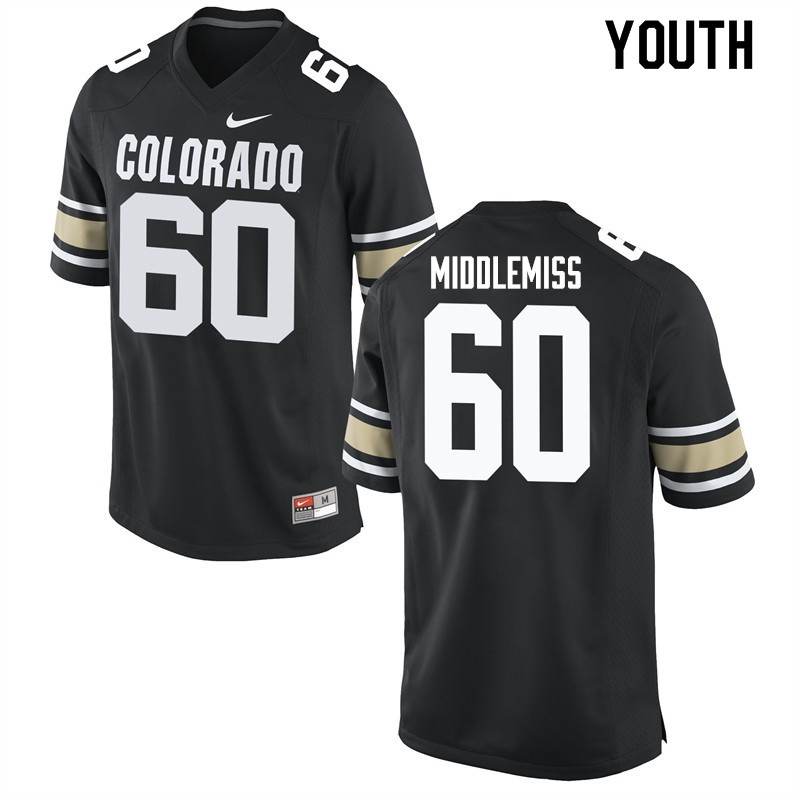 Youth #60 Dillon Middlemiss Colorado Buffaloes College Football Jerseys Sale-Home Black