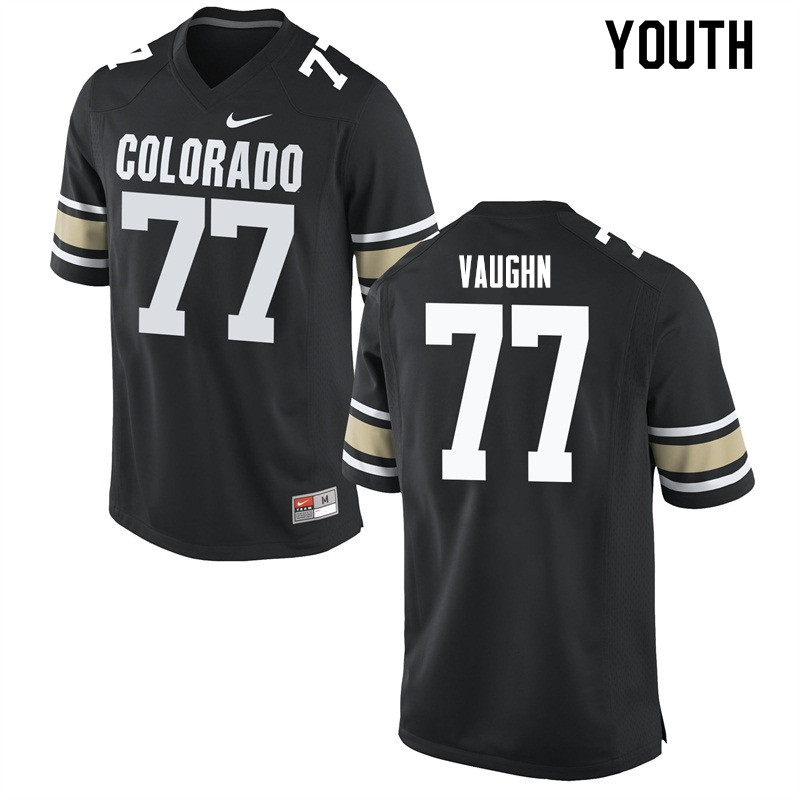 Youth #77 Hunter Vaughn Colorado Buffaloes College Football Jerseys Sale-Home Black