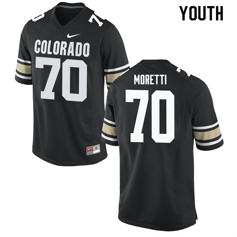 Youth #70 Jake Moretti Colorado Buffaloes College Football Jerseys Sale-Home Black