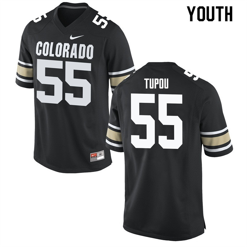 Youth #55 Josh Tupou Colorado Buffaloes College Football Jerseys Sale-Home Black